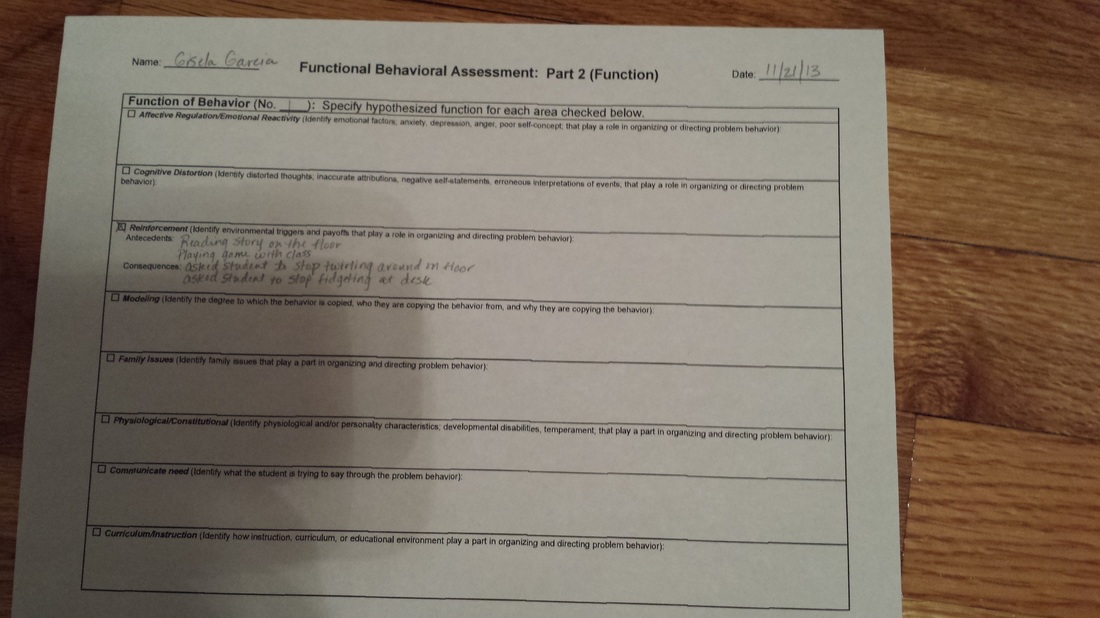 Example Functional Behavioral Assessment  Mrs Hinds Th Grade